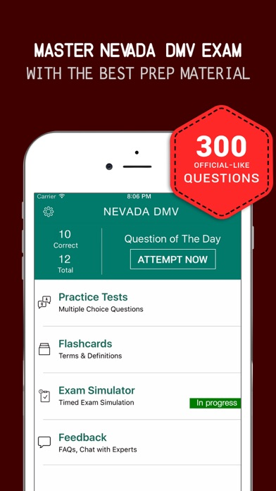 Nevada DMV Practice Exam Prep 2017 –Q&A Flashcards Screenshot on iOS