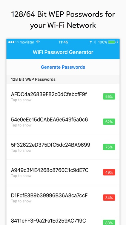 WiFi Password Generator - WEP keys for your modem app image
