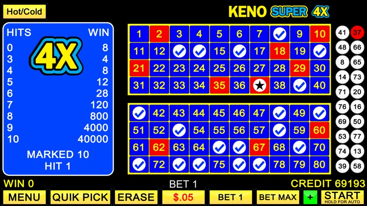 Keno Super 4X by Lucky Jackpot Casino