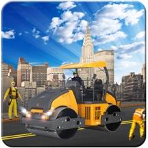 道路滚筒和城市建设者与挖掘机