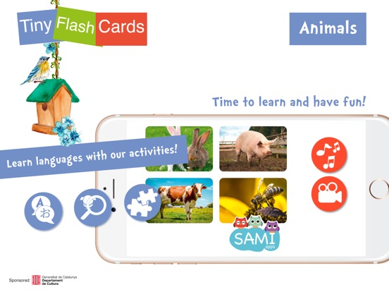 Screenshot #1 for Sami Tiny FlashCards Animals 6 languages kids apps