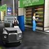 スーパーマーケット食料品ショップ配達トラックのドライブスルー