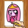 スケッチラインに小さなお姫様を描く方法