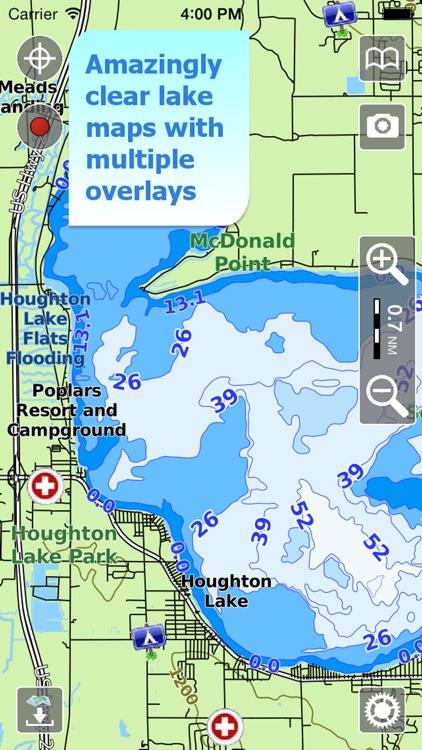 Aqua Map Michigan MI Lakes and Great Lakes HD
