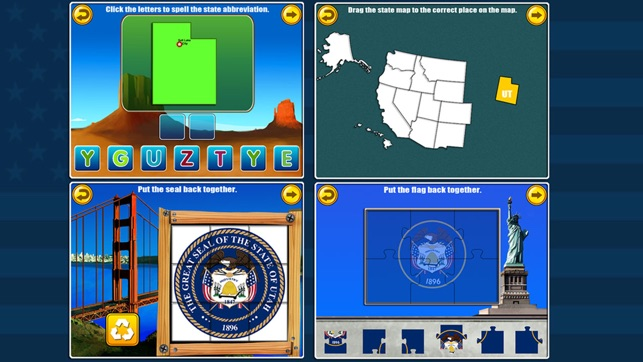 Fifty States and Capitals Learning Games Apps kids on the ...