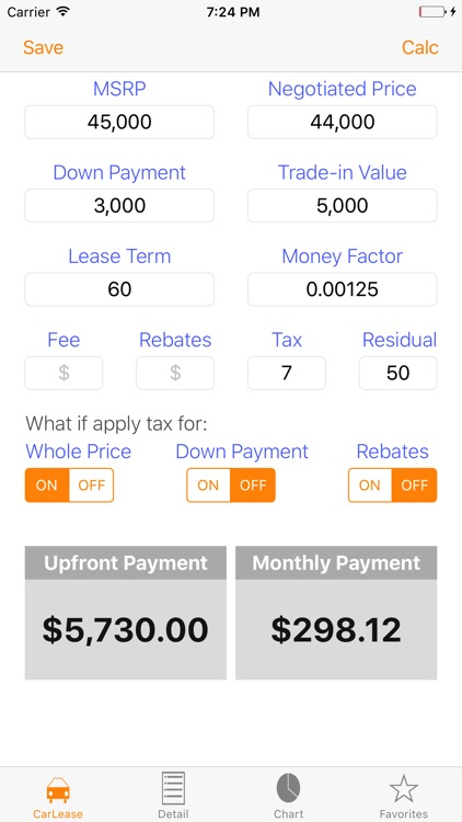 Auto Lease Calculator/ Car Loan Payment & Leasing