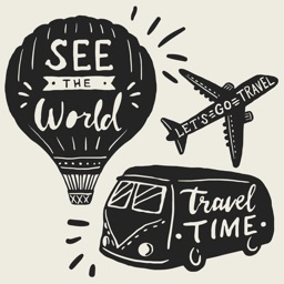Hand Drawn Travel Stickers and Quotes
