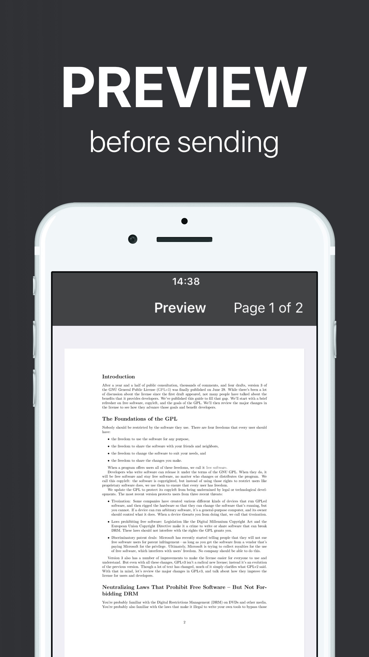 FAX from iPhone - send fax Screenshot