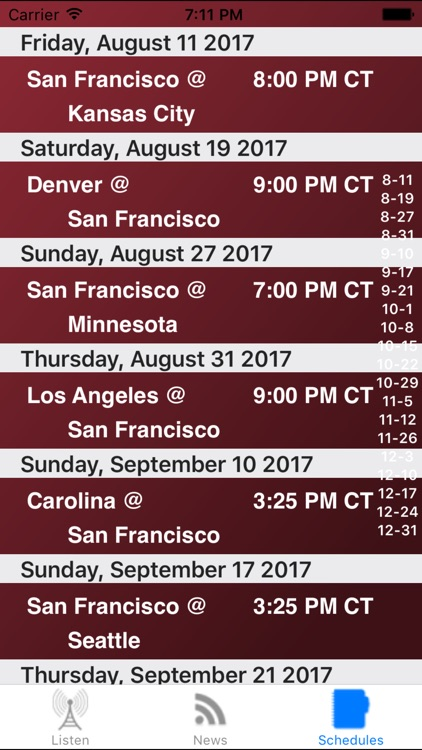 San Francisco Football Live - Radio, Schedule News