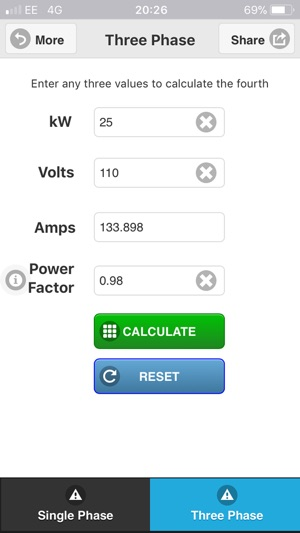 Watts Amps Volts Calculator On The App Store