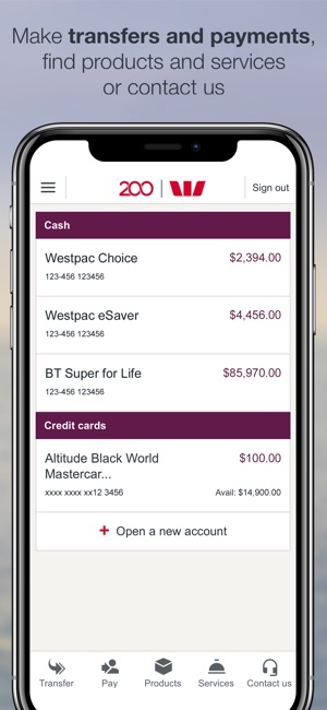 Westpac Mobile Banking Screenshot