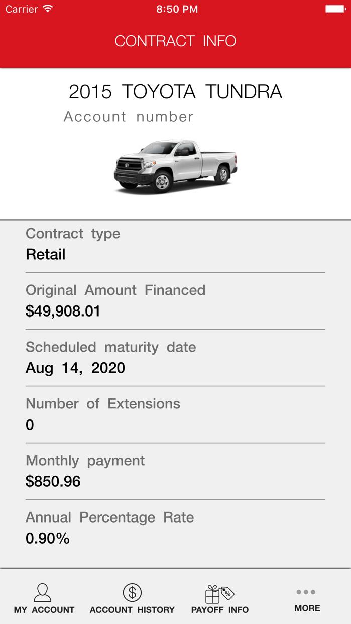 myTFS - Toyota Financial Screenshot