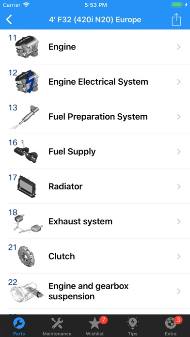 BMW Parts Screenshots