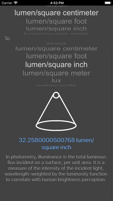 Illuminance Conversion screenshot two