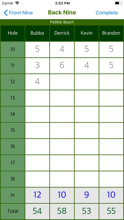 Bubba's Golf Scorecard screenshot-4