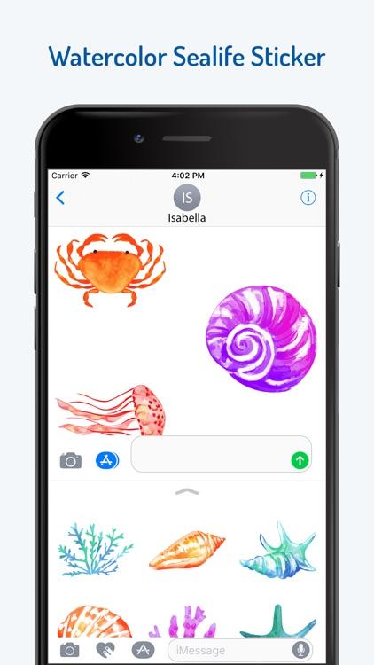 Watercolor Sea Life Emojis screenshot-3