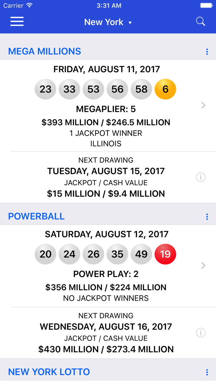 Lotto Results - Lottery in US Screenshot