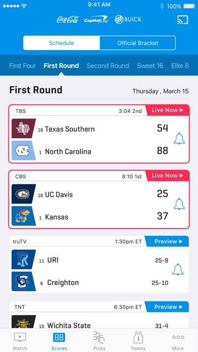 Screenshot of NCAA March Madness Live App