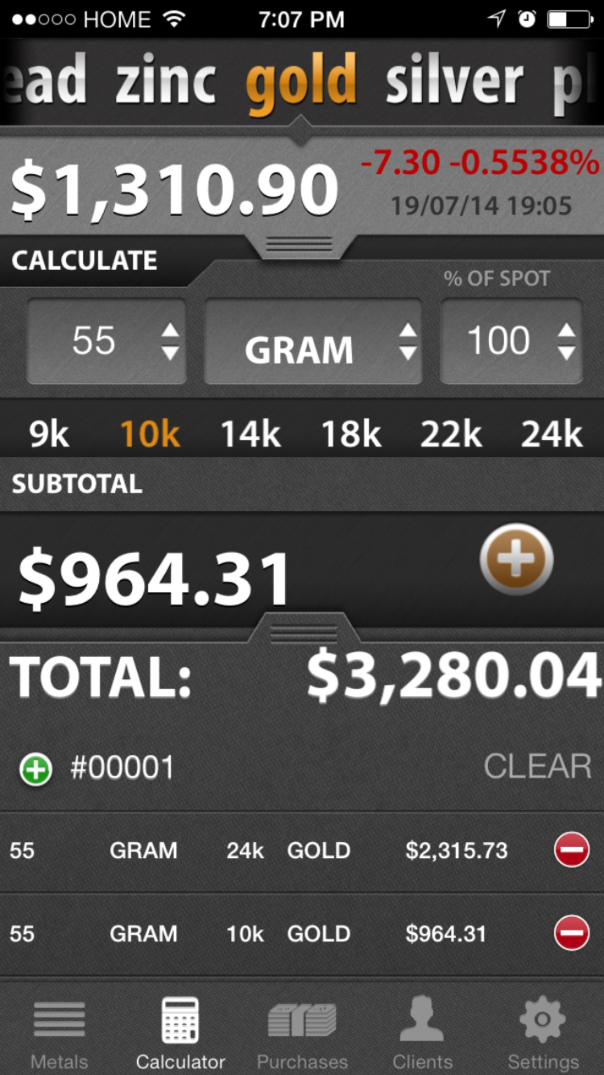 Precious Metal Calculator Pro Screenshot