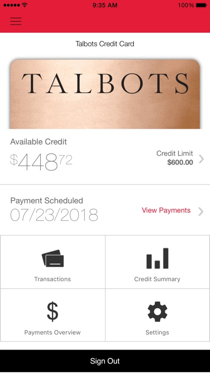 Talbots Credit Card App