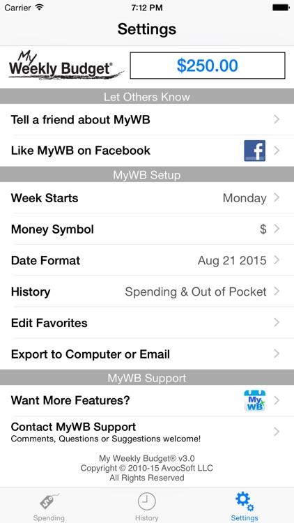 My Weekly Budget - MyWB screenshot-3