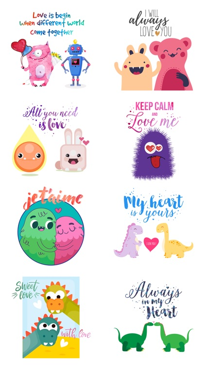 Love Quotes with Monster,Robot,Dinosaur Characters screenshot-4