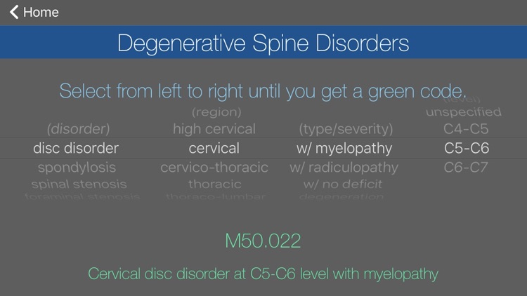 Spondylosis with myelopathy icd 10