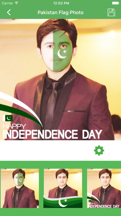 Pakistan 14 August Flag Face Photo Frame Maker by Nasreen