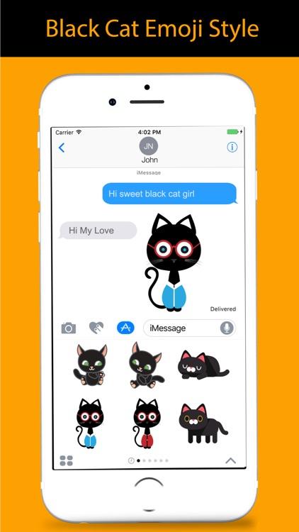 Black Cat Sticker for iMessage screenshot-4