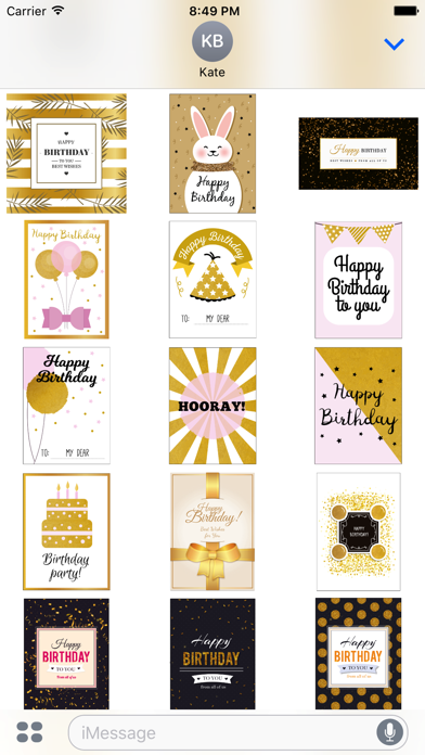 Birthday Card - Collection of Gold Style Stickers screenshot 5