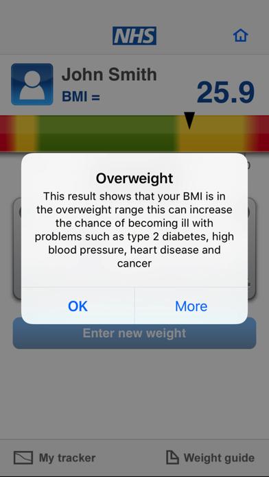 NHS BMI calculator screenshot three