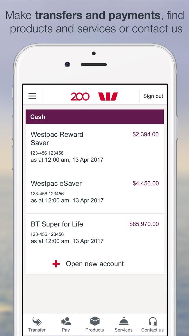 Westpac Mobile Banking Screenshot