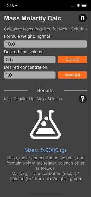 Mass Molarity Calculator