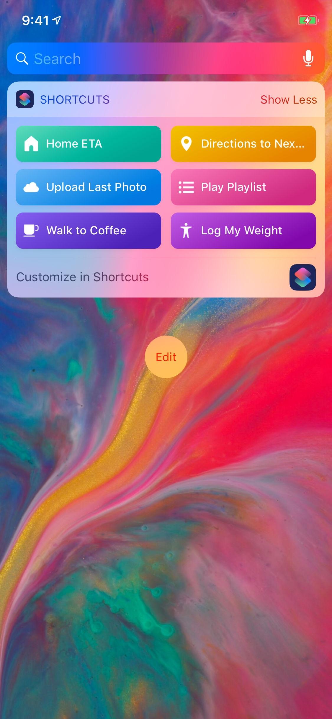 Screenshot do app Atalhos