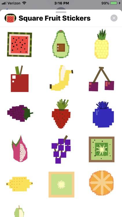 Square Fruit Stickers