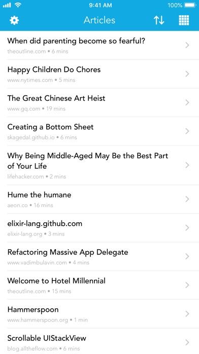 Pocket Rocket Article Reader Screenshot on iOS