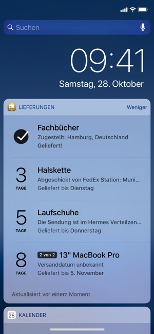 Lieferungen (Deliveries) Screenshot