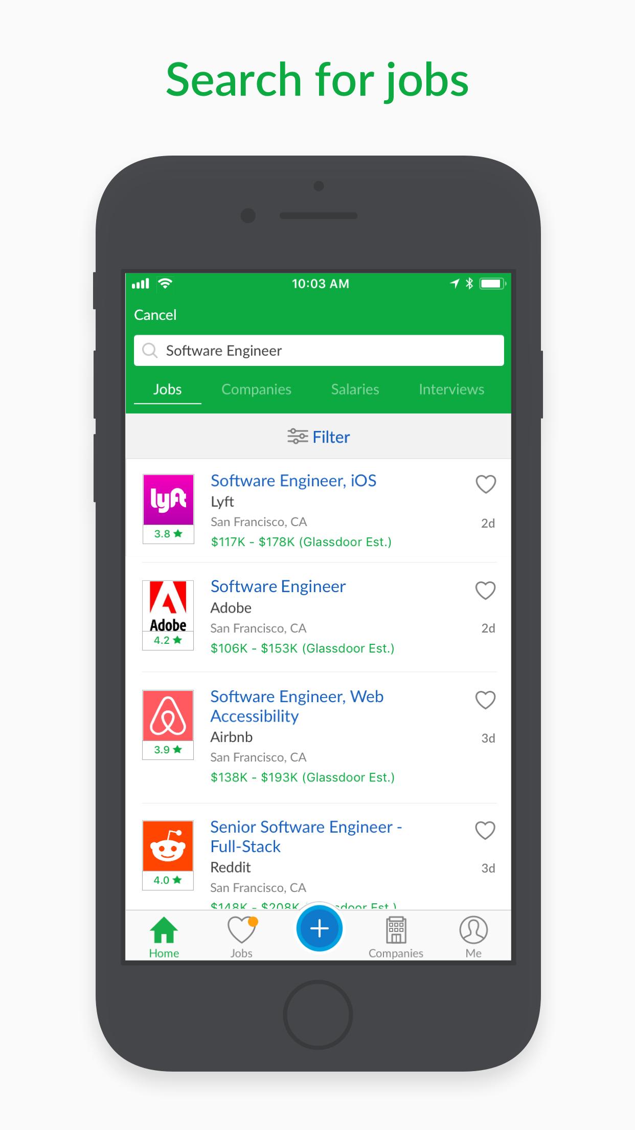 Glassdoor Job Search Screenshot