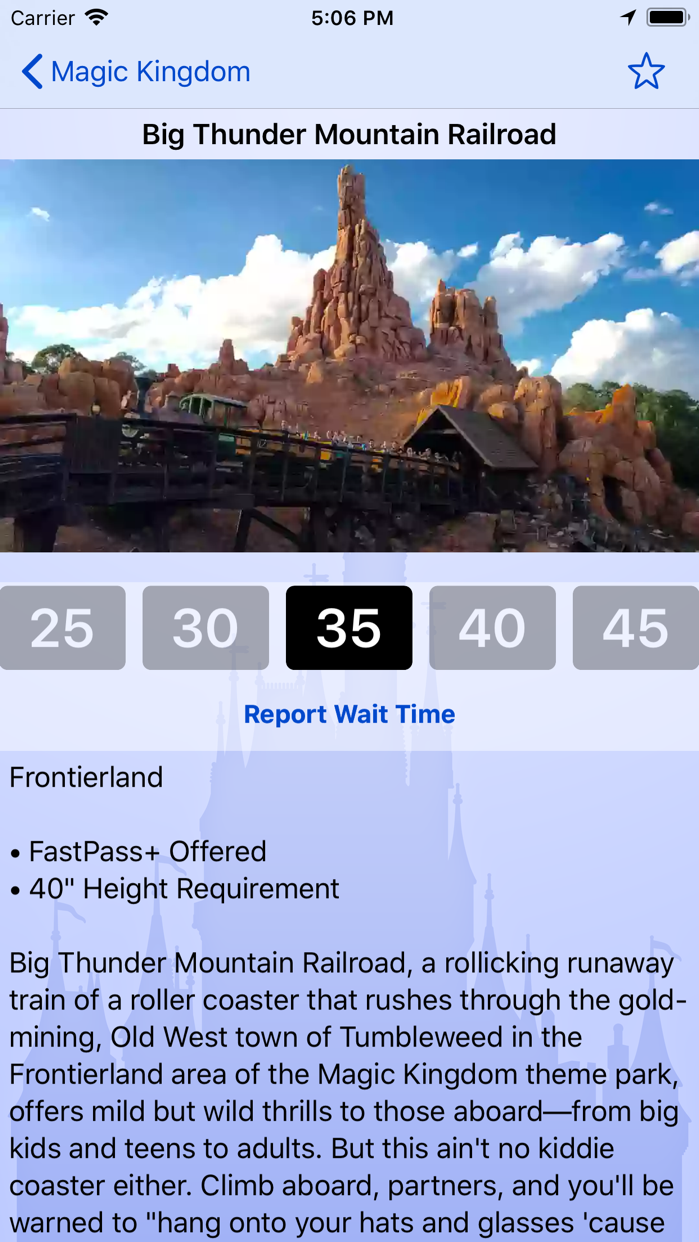 Wait Times for Disney World Screenshot