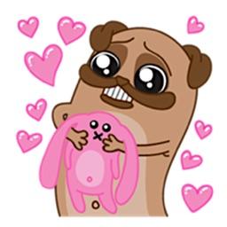 Poog The Cute Pug Dog Stickers