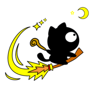 Cute Wizard Black Cat Sticker app
