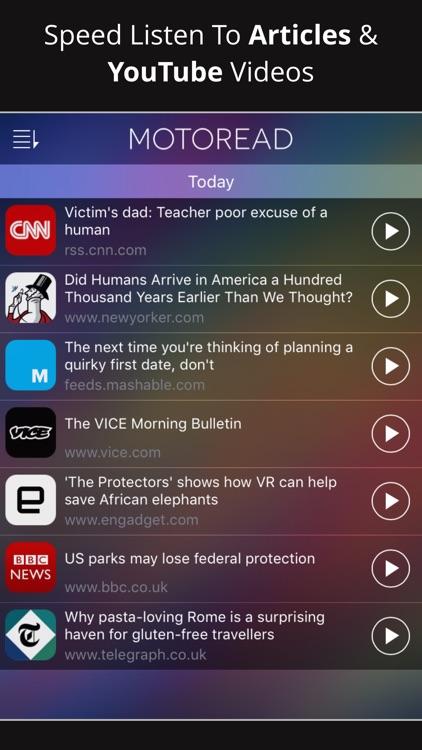 Motoread – Speed Listen to News Articles & YouTube screenshot-0