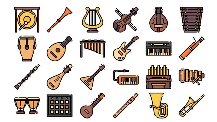 Music Instruments Stickers.