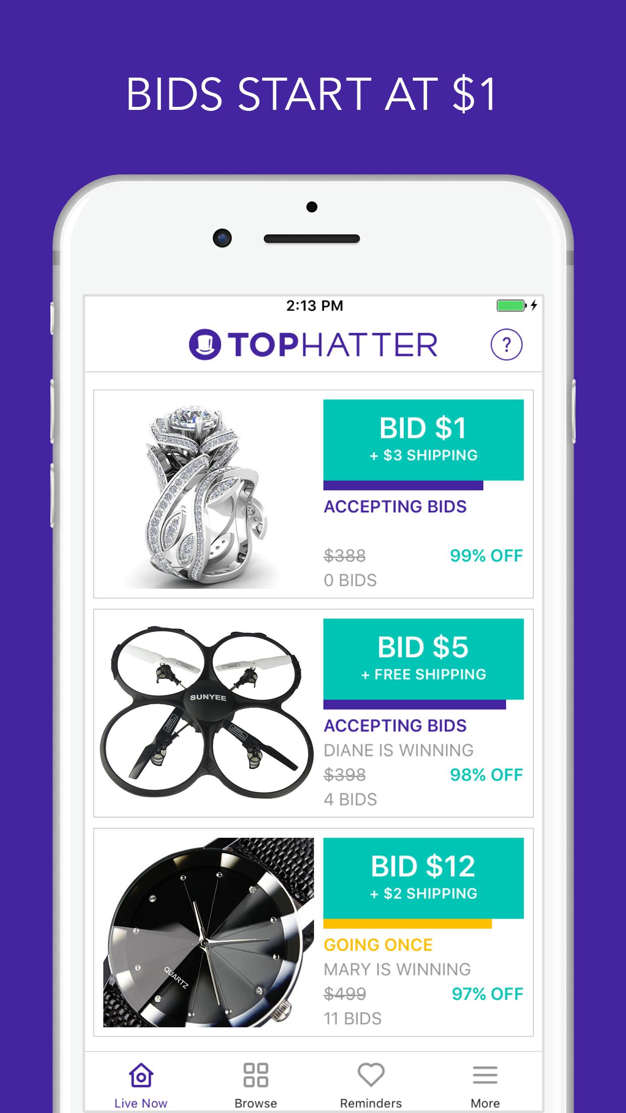 Tophatter: Fun Shopping Deals Screenshot