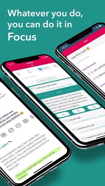 Focus - tasks, projects, notes screenshot-4