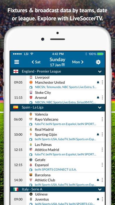 Live Soccer TV - Official multi-platform broadcast listings & live scores screenshot