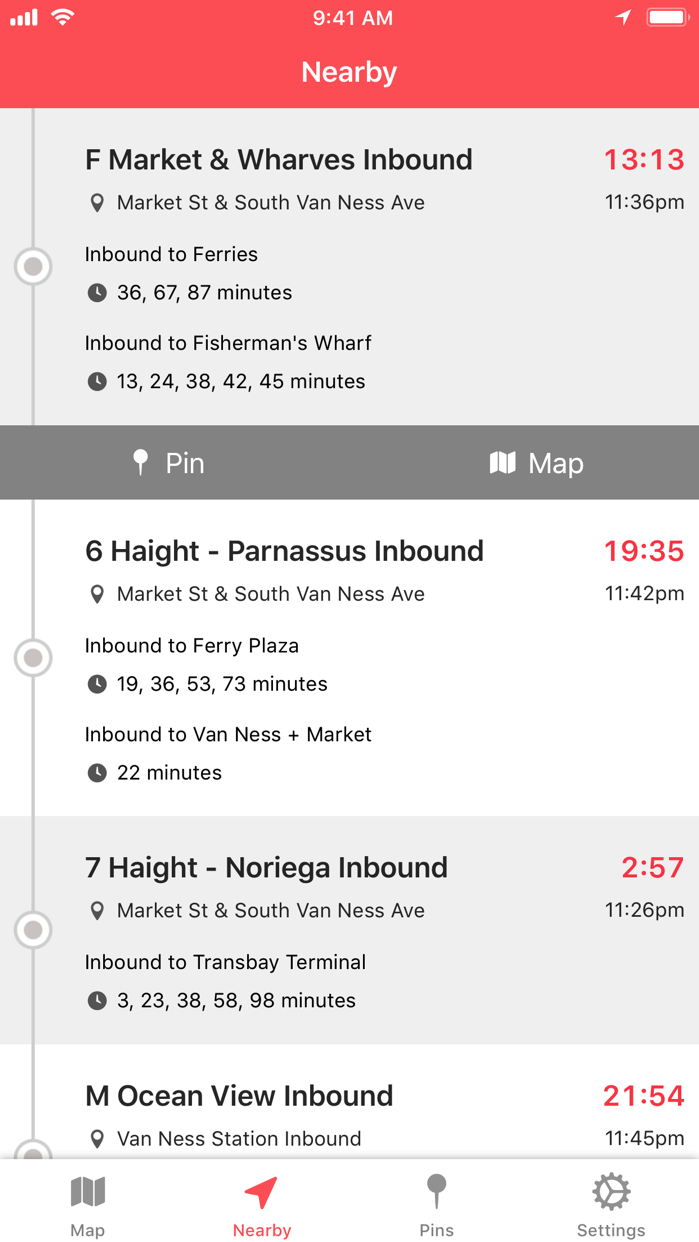 Muni Watch Transit App Screenshot