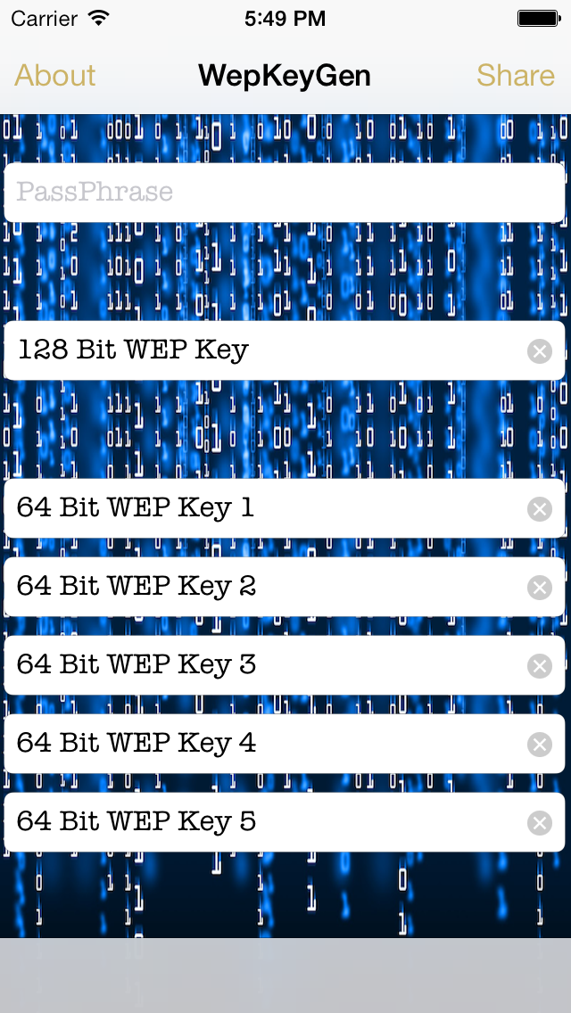 Screenshot of WEP keys for WiFi Passwords1