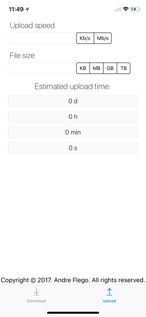 DownloadUpload Time Calculator Screenshot