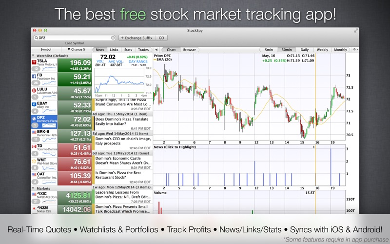 StockSpy Realtime Stocks Quote Screenshot